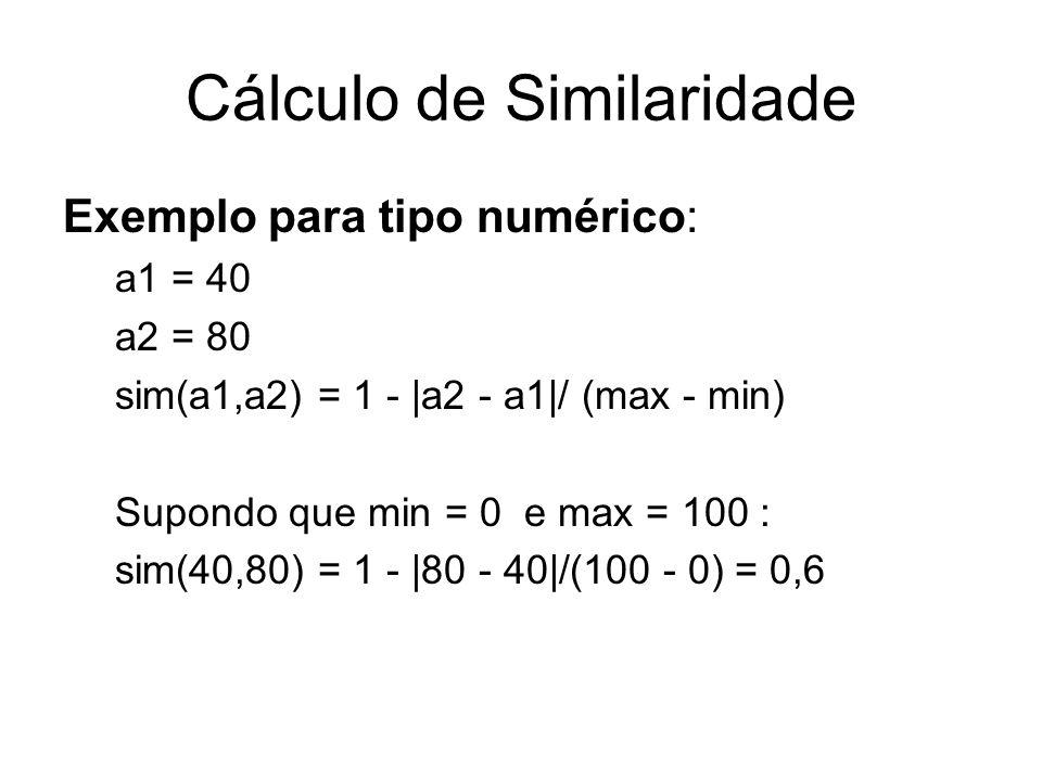 Cálculo de Similaridade Exemplo para tipo numérico: a1 = 40 a2 = 80 sim(a1,a2) = 1 - |a2 - a1|/ (max - min) Supondo que min = 0 e max = 100 : sim(40,8