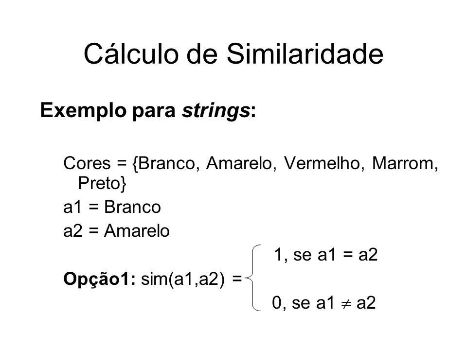 Exemplo para strings: Cores = {Branco, Amarelo, Vermelho, Marrom, Preto} a1 = Branco a2 = Amarelo 1, se a1 = a2 Opção1: sim(a1,a2) = 0, se a1 a2 Cálcu