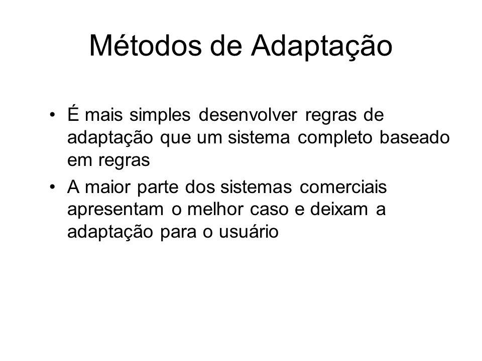 Métodos de Adaptação É mais simples desenvolver regras de adaptação que um sistema completo baseado em regras A maior parte dos sistemas comerciais ap