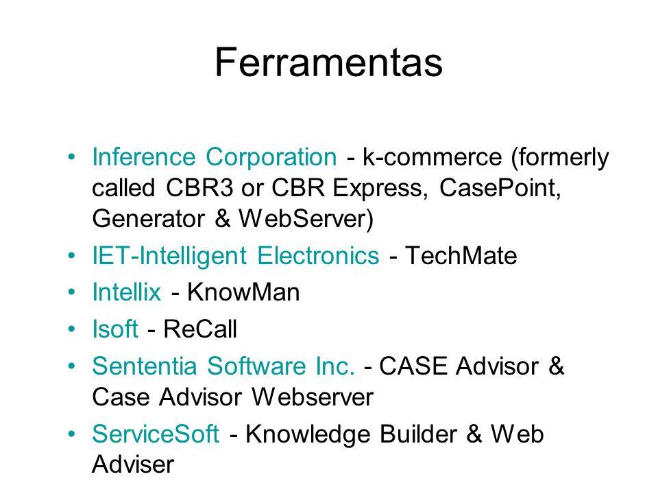 Ferramentas Inference Corporation - k-commerce (formerly called CBR3 or CBR Express, CasePoint, Generator & WebServer) IET-Intelligent Electronics - T