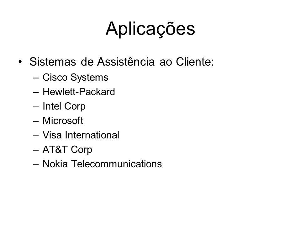 Aplicações Sistemas de Assistência ao Cliente: –Cisco Systems –Hewlett-Packard –Intel Corp –Microsoft –Visa International –AT&T Corp –Nokia Telecommun