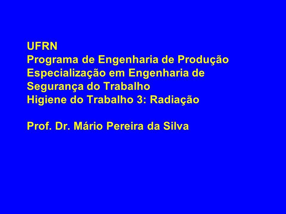 UFRN Programa de Engenharia de Produção Especialização em Engenharia de Segurança do Trabalho Higiene do Trabalho 3: Radiação Prof. Dr. Mário Pereira