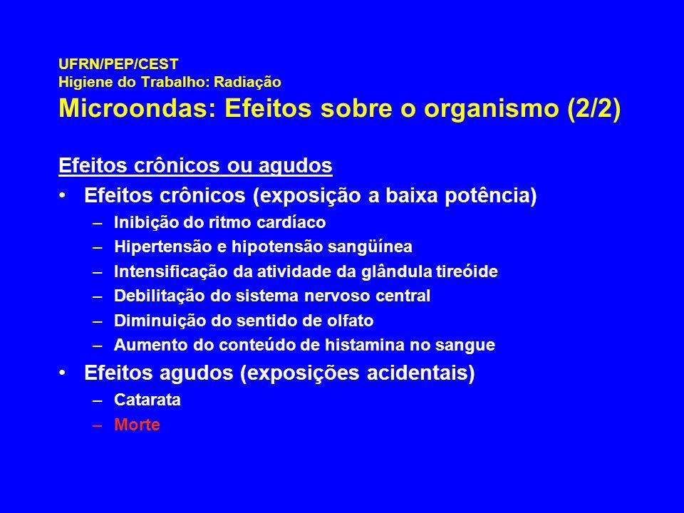 UFRN/PEP/CEST Higiene do Trabalho: Radiação Microondas: Efeitos sobre o organismo (2/2) Efeitos crônicos ou agudos Efeitos crônicos (exposição a baixa