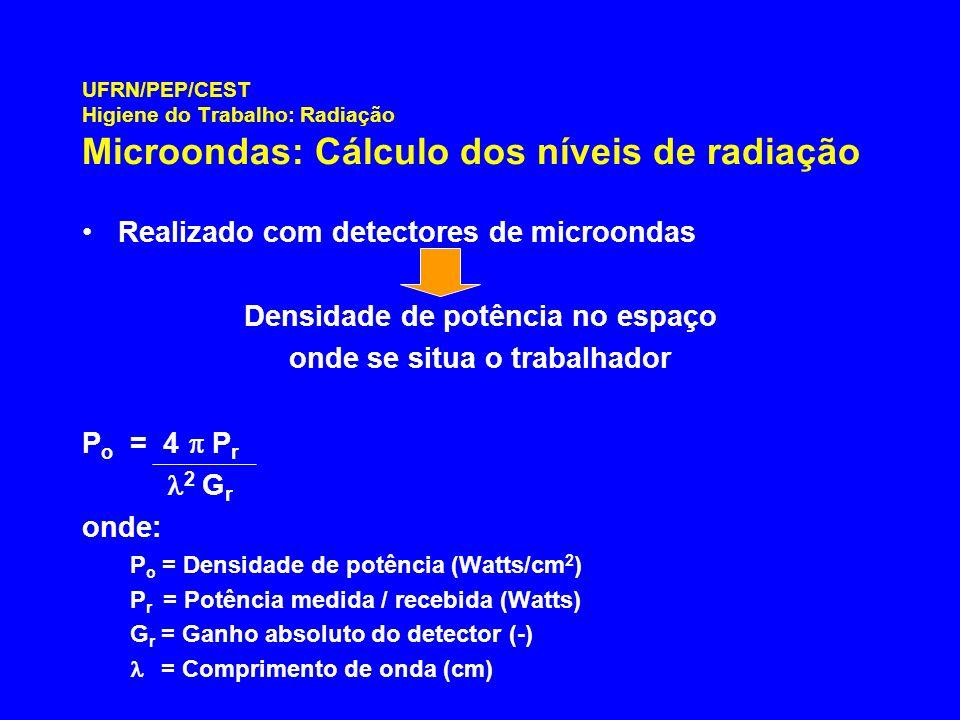 UFRN/PEP/CEST Higiene do Trabalho: Radiação Microondas: Cálculo dos níveis de radiação Realizado com detectores de microondas Densidade de potência no