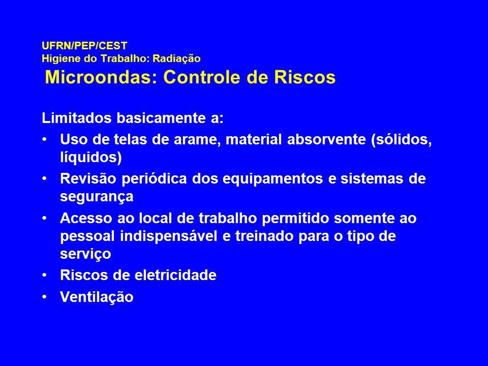 UFRN/PEP/CEST Higiene do Trabalho: Radiação Microondas: Controle de Riscos Limitados basicamente a: Uso de telas de arame, material absorvente (sólido