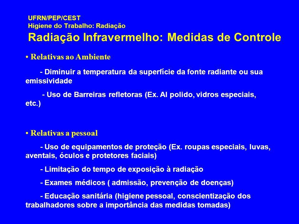 UFRN/PEP/CEST Higiene do Trabalho: Radiação Radiação Infravermelho: Medidas de Controle Relativas ao Ambiente - Diminuir a temperatura da superfície d