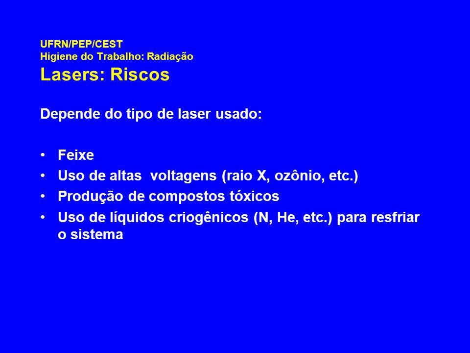 UFRN/PEP/CEST Higiene do Trabalho: Radiação Lasers: Riscos Depende do tipo de laser usado: Feixe Uso de altas voltagens (raio X, ozônio, etc.) Produçã