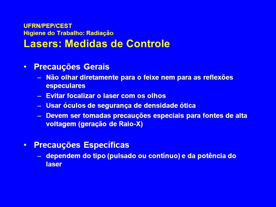 UFRN/PEP/CEST Higiene do Trabalho: Radiação Lasers: Medidas de Controle Precauções Gerais –Não olhar diretamente para o feixe nem para as reflexões es