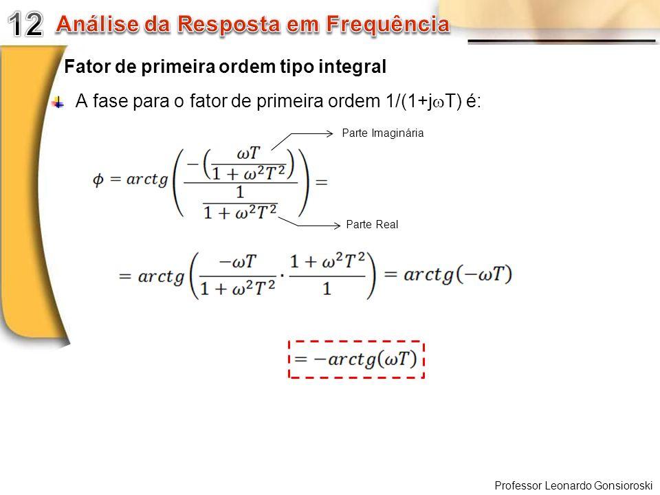 Professor Leonardo Gonsioroski Fator de primeira ordem tipo integral A fase para o fator de primeira ordem 1/(1+j T) é: Parte Imaginária Parte Real