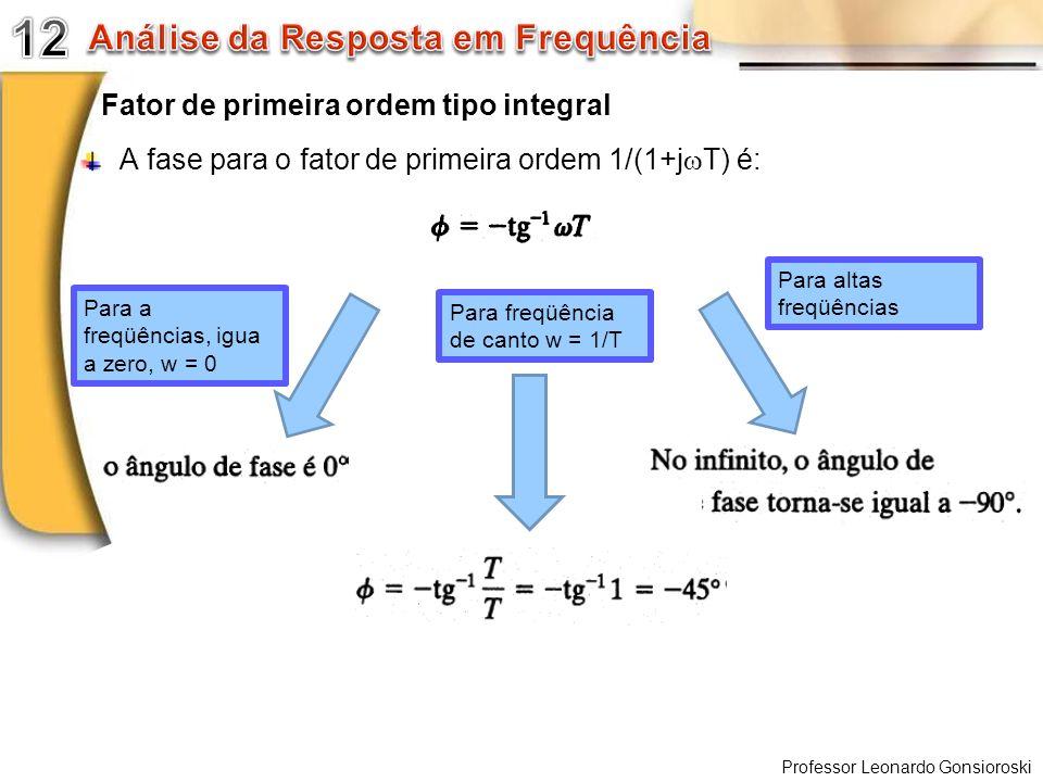 Professor Leonardo Gonsioroski Fator de primeira ordem tipo integral A fase para o fator de primeira ordem 1/(1+j T) é: Para a freqüências, igua a zer