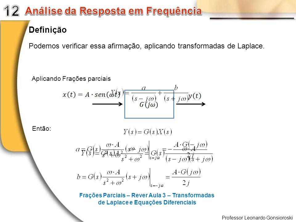 Professor Leonardo Gonsioroski Definição Podemos verificar essa afirmação, aplicando transformadas de Laplace. Aplicando Frações parciais Então: Fraçõ