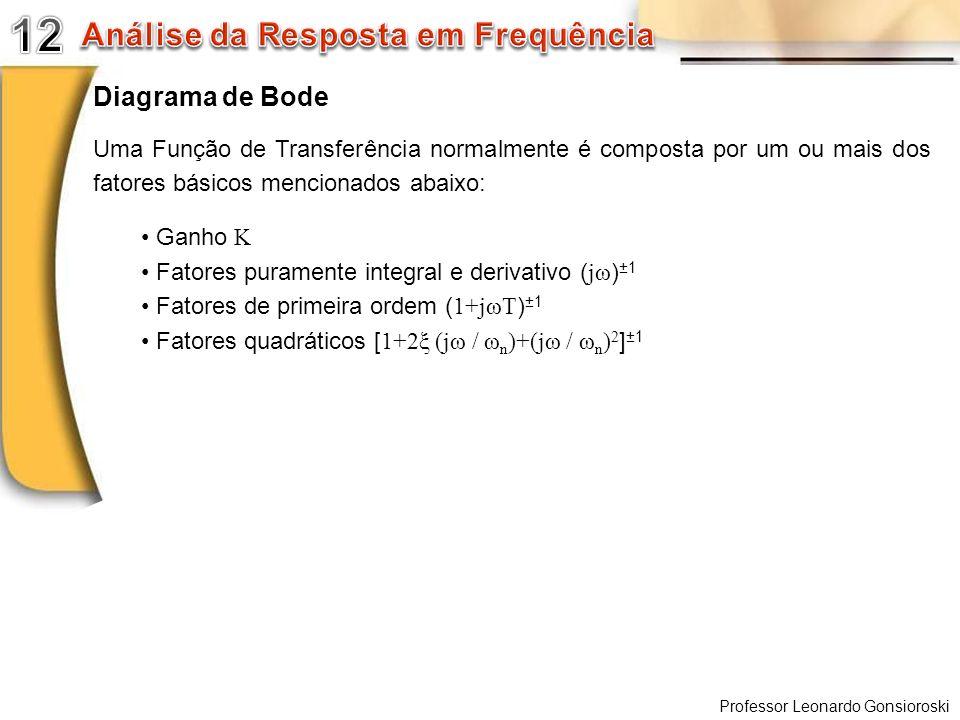 Professor Leonardo Gonsioroski Diagrama de Bode Uma Função de Transferência normalmente é composta por um ou mais dos fatores básicos mencionados abai