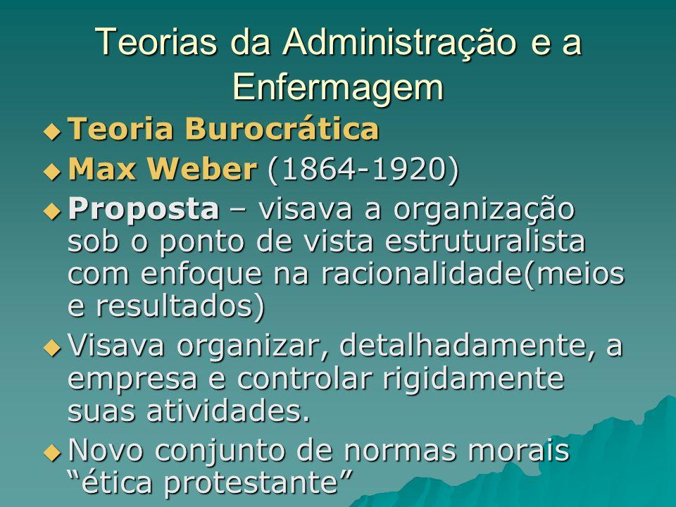 Teorias da Administração e a Enfermagem Teoria Burocrática Teoria Burocrática Max Weber (1864-1920) Max Weber (1864-1920) Proposta – visava a organiza