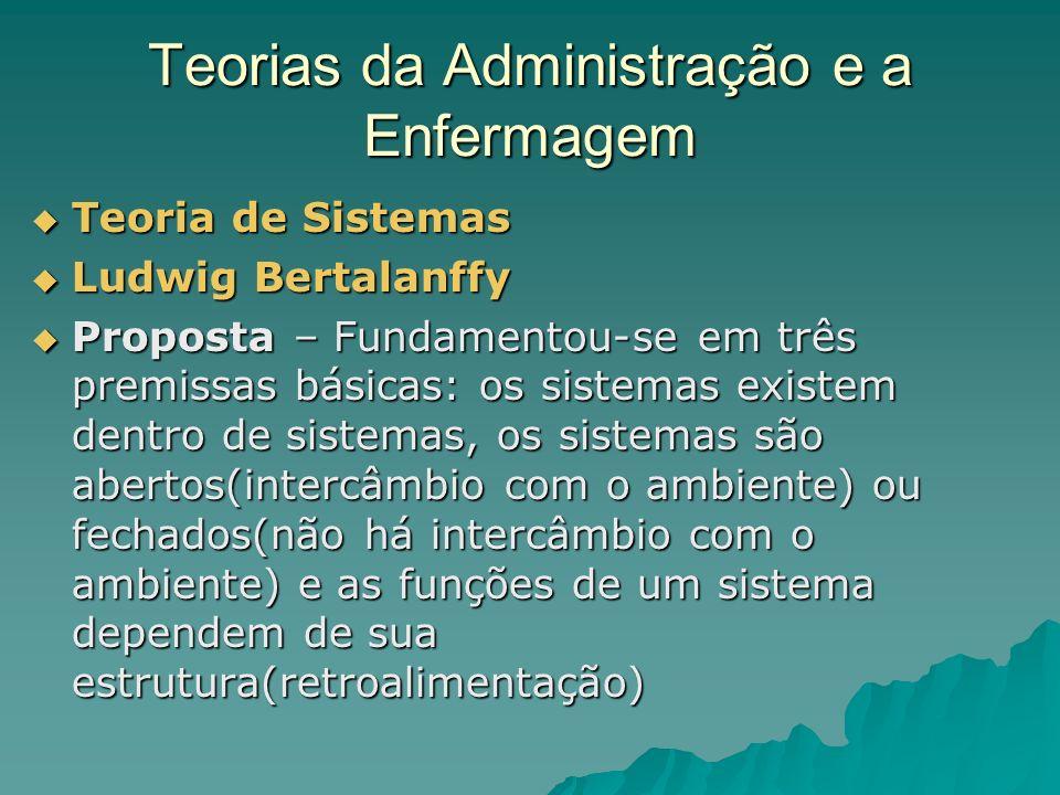 Teorias da Administração e a Enfermagem Teoria de Sistemas Teoria de Sistemas Ludwig Bertalanffy Ludwig Bertalanffy Proposta – Fundamentou-se em três