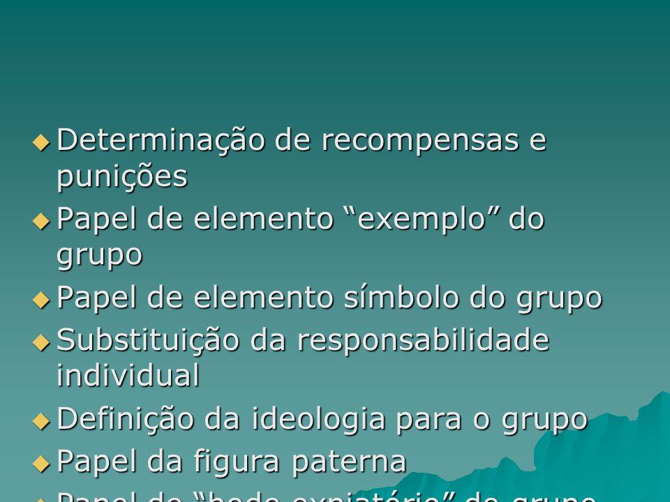 Determinação de recompensas e punições Determinação de recompensas e punições Papel de elemento exemplo do grupo Papel de elemento exemplo do grupo Pa