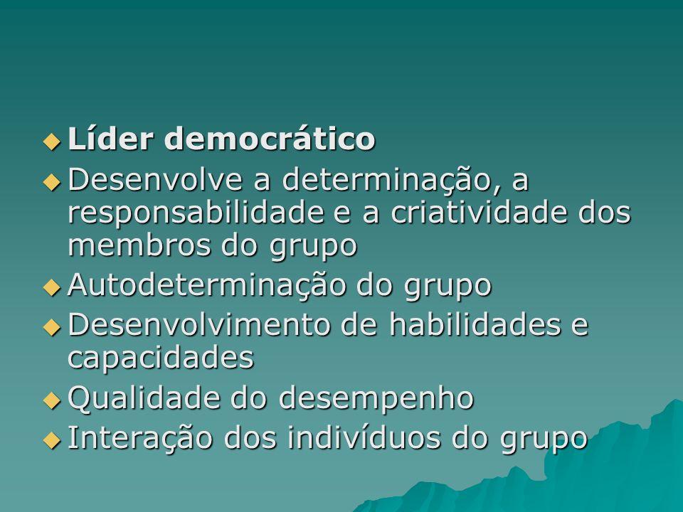 Líder democrático Líder democrático Desenvolve a determinação, a responsabilidade e a criatividade dos membros do grupo Desenvolve a determinação, a r