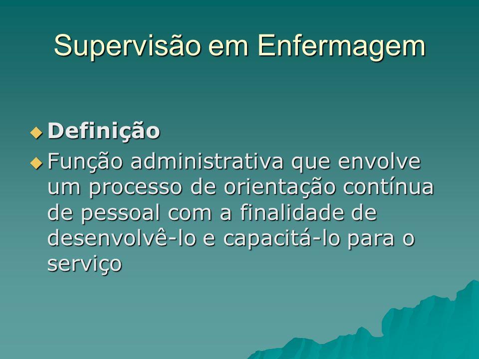 Supervisão em Enfermagem Definição Definição Função administrativa que envolve um processo de orientação contínua de pessoal com a finalidade de desen