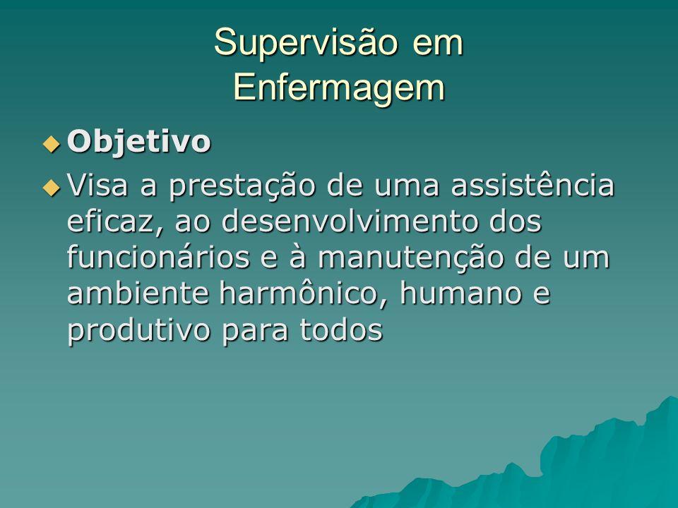 Supervisão em Enfermagem Objetivo Objetivo Visa a prestação de uma assistência eficaz, ao desenvolvimento dos funcionários e à manutenção de um ambien