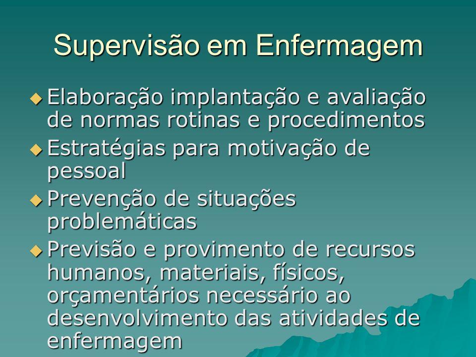 Supervisão em Enfermagem Elaboração implantação e avaliação de normas rotinas e procedimentos Elaboração implantação e avaliação de normas rotinas e p