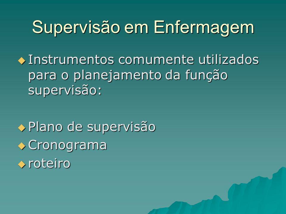 Supervisão em Enfermagem Instrumentos comumente utilizados para o planejamento da função supervisão: Instrumentos comumente utilizados para o planejam
