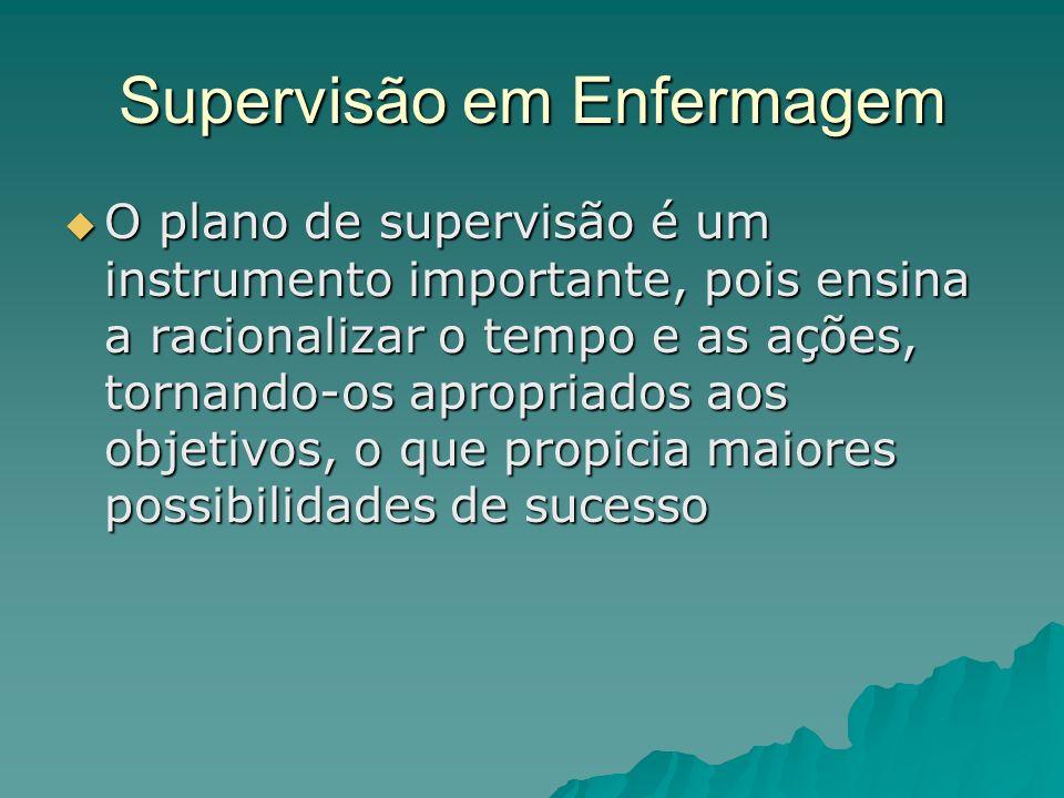 Supervisão em Enfermagem O plano de supervisão é um instrumento importante, pois ensina a racionalizar o tempo e as ações, tornando-os apropriados aos