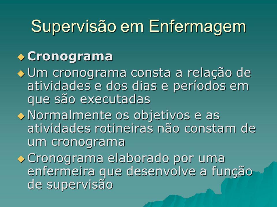 Supervisão em Enfermagem Cronograma Cronograma Um cronograma consta a relação de atividades e dos dias e períodos em que são executadas Um cronograma