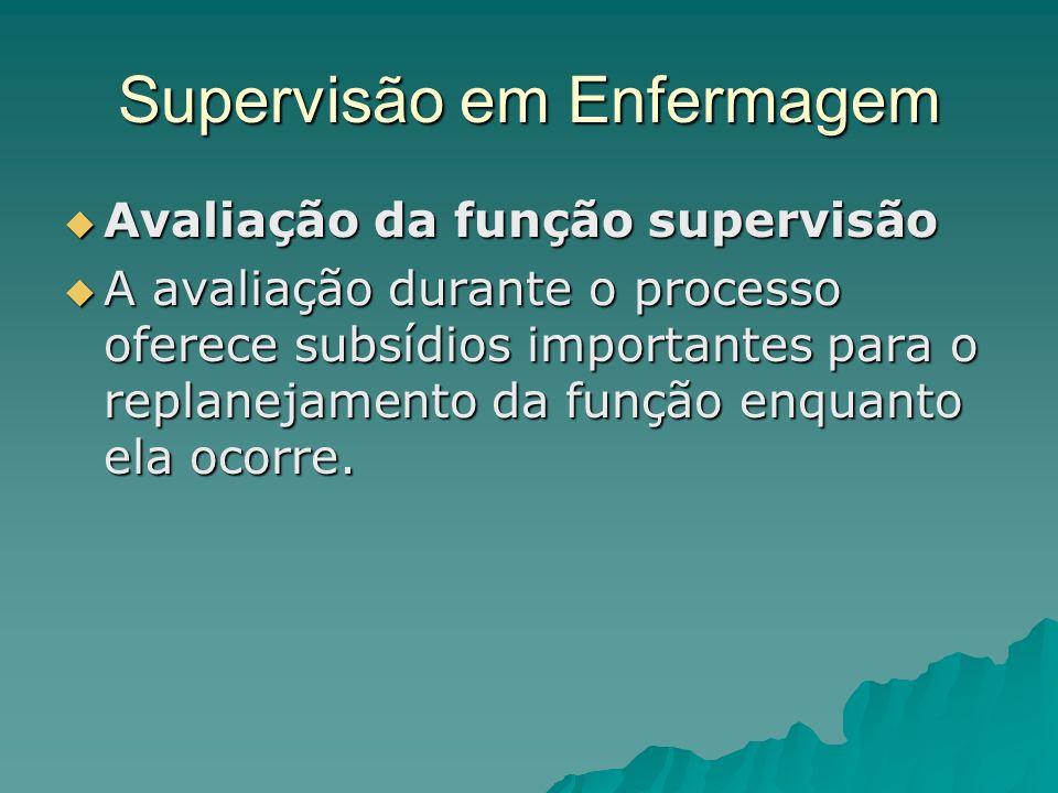 Supervisão em Enfermagem Avaliação da função supervisão Avaliação da função supervisão A avaliação durante o processo oferece subsídios importantes pa