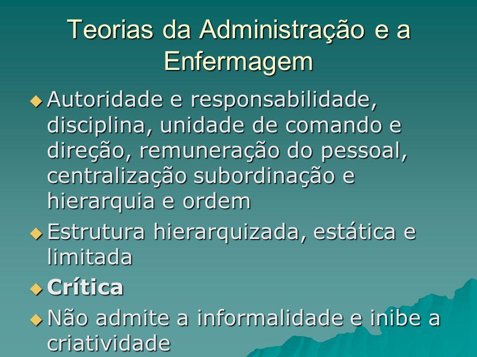 Teorias da Administração e a Enfermagem Autoridade e responsabilidade, disciplina, unidade de comando e direção, remuneração do pessoal, centralização