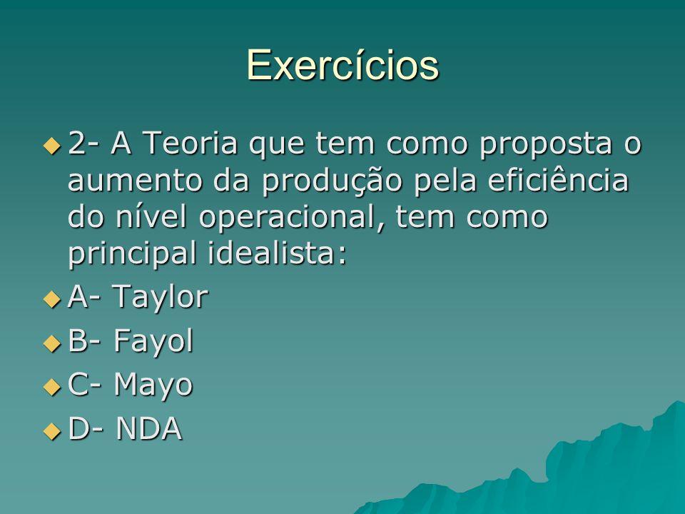 Exercícios 2- A Teoria que tem como proposta o aumento da produção pela eficiência do nível operacional, tem como principal idealista: 2- A Teoria que