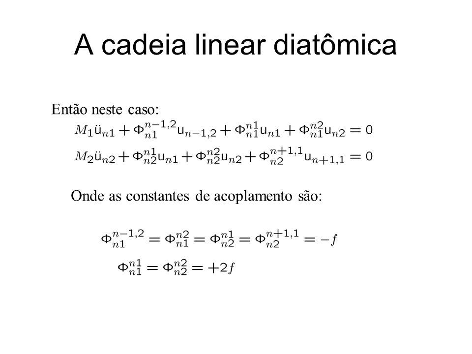 A cadeia linear diatômica Então neste caso: Onde as constantes de acoplamento são: