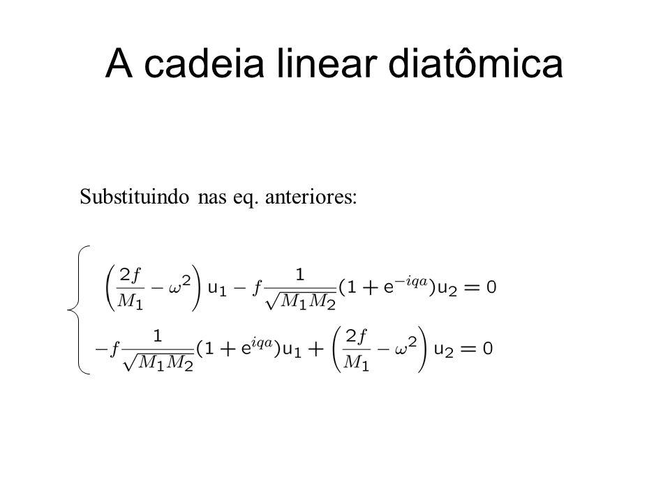 A cadeia linear diatômica Substituindo nas eq. anteriores: