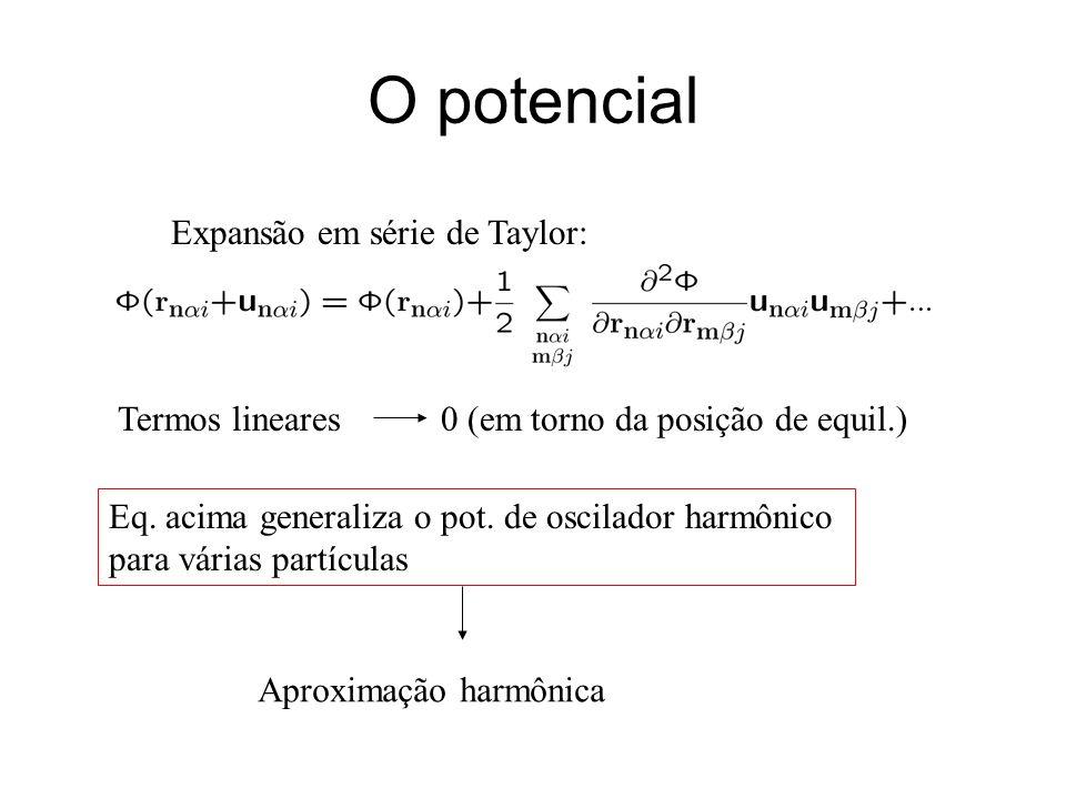 O potencial Expansão em série de Taylor: Termos lineares 0 (em torno da posição de equil.) Eq. acima generaliza o pot. de oscilador harmônico para vár