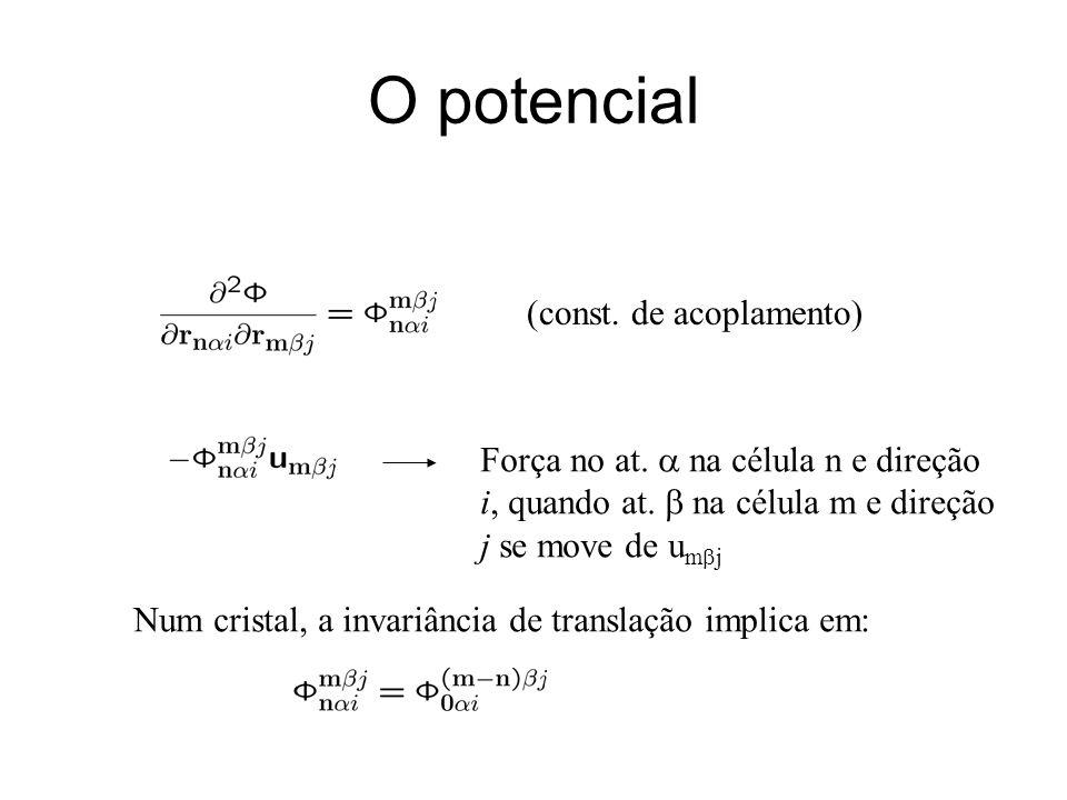 O potencial (const. de acoplamento) Força no at. na célula n e direção i, quando at. na célula m e direção j se move de u m j Num cristal, a invariânc