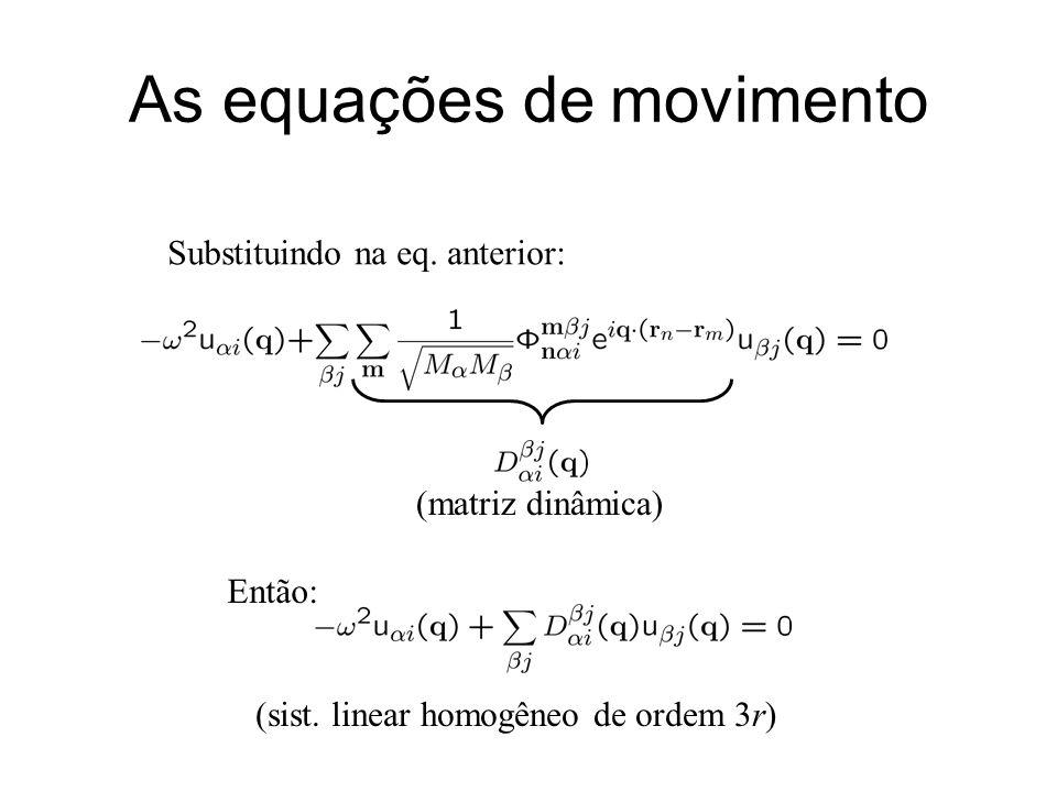 As equações de movimento Substituindo na eq. anterior: (matriz dinâmica) Então: (sist. linear homogêneo de ordem 3r)