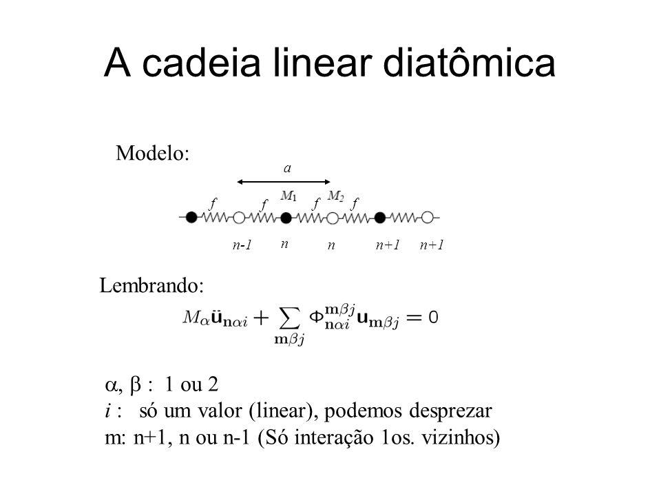 A cadeia linear diatômica Modelo: n nn-1n+1 a f f ff Lembrando:, : 1 ou 2 i : só um valor (linear), podemos desprezar m: n+1, n ou n-1 (Só interação 1