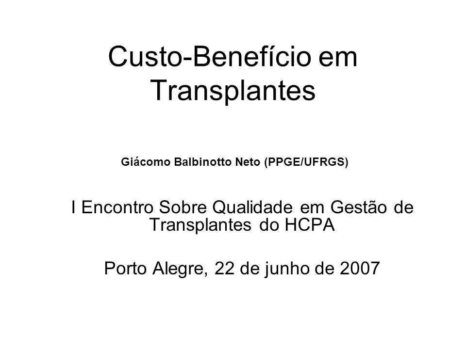 Custo-Benefício em Transplantes I Encontro Sobre Qualidade em Gestão de Transplantes do HCPA Porto Alegre, 22 de junho de 2007 Giácomo Balbinotto Neto