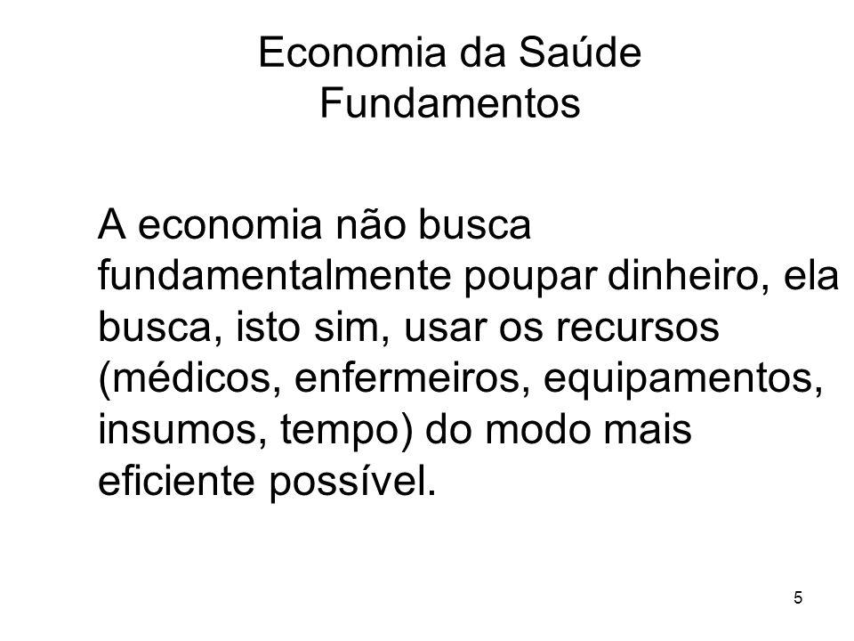 5 A economia não busca fundamentalmente poupar dinheiro, ela busca, isto sim, usar os recursos (médicos, enfermeiros, equipamentos, insumos, tempo) do