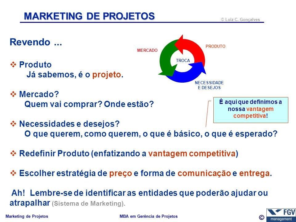 39 © Luiz C.Gonçalves Marketing de Projetos MBA em Gerência de Projetos MARKETING DE PROJETOS....