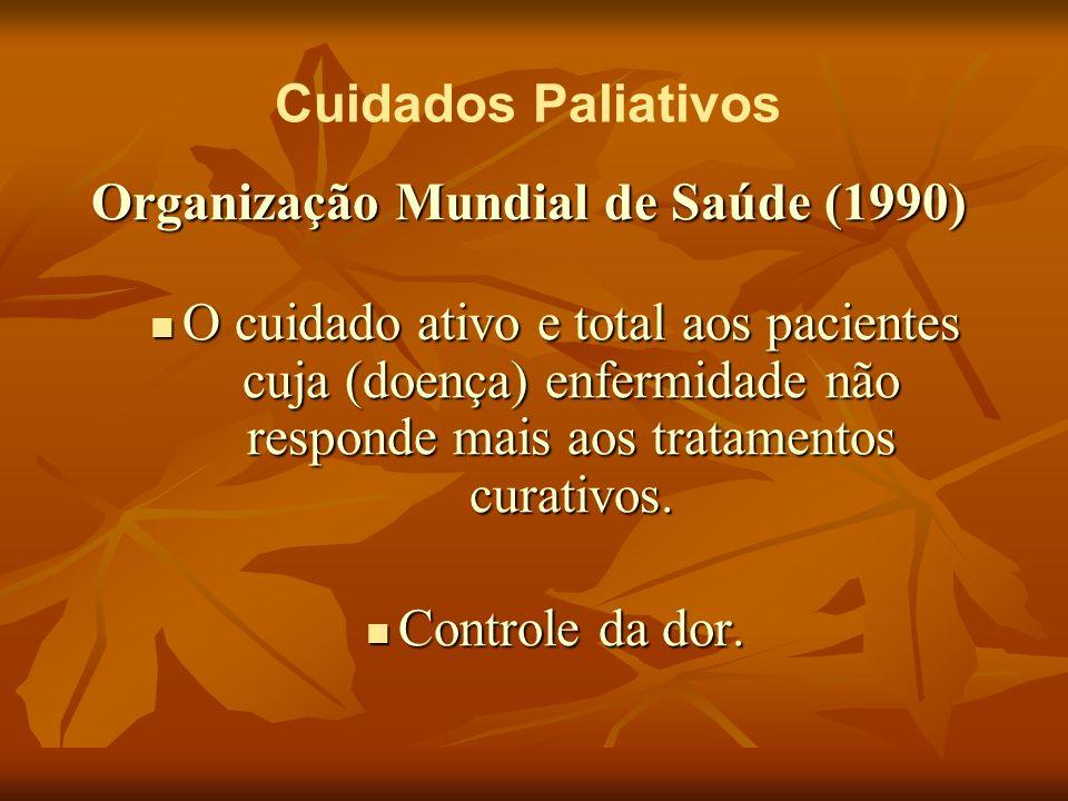 Cuidados Paliativos Organização Mundial de Saúde (1990) Relaciona-se à outros sintomas: Relaciona-se à outros sintomas: Psicológica; Psicológica; Social; Social; Espiritual.