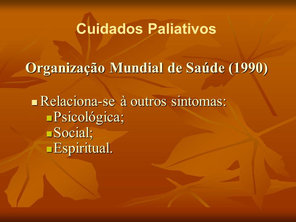 Cuidados Paliativos Organização Mundial de Saúde (1990) Relaciona-se à outros sintomas: Relaciona-se à outros sintomas: Psicológica; Psicológica; Soci