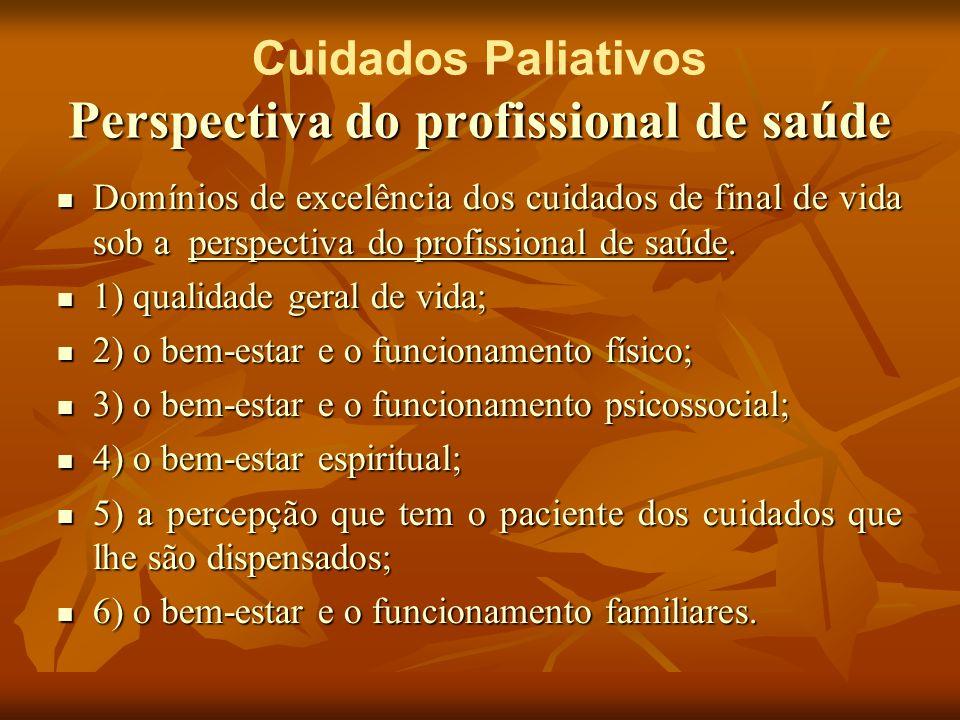 Perspectiva do profissional de saúde Cuidados Paliativos Perspectiva do profissional de saúde Domínios de excelência dos cuidados de final de vida sob