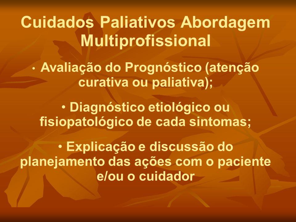 Cuidados Paliativos Abordagem Multiprofissional Avaliação do Prognóstico (atenção curativa ou paliativa); Diagnóstico etiológico ou fisiopatológico de