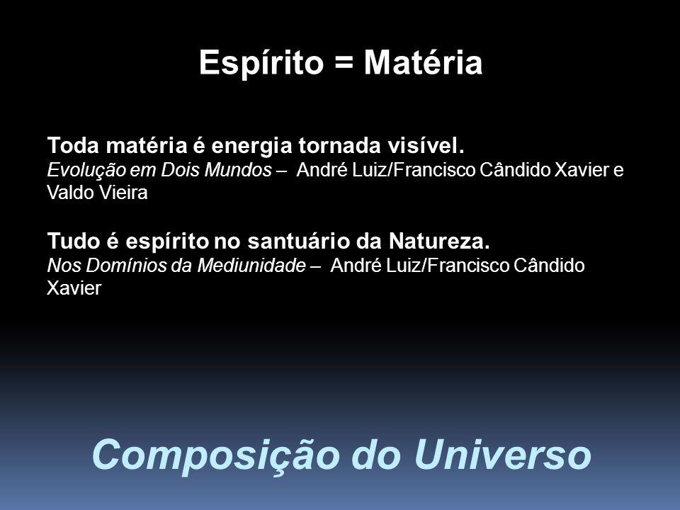 Toda matéria é energia tornada visível. Evolução em Dois Mundos – André Luiz/Francisco Cândido Xavier e Valdo Vieira Tudo é espírito no santuário da N