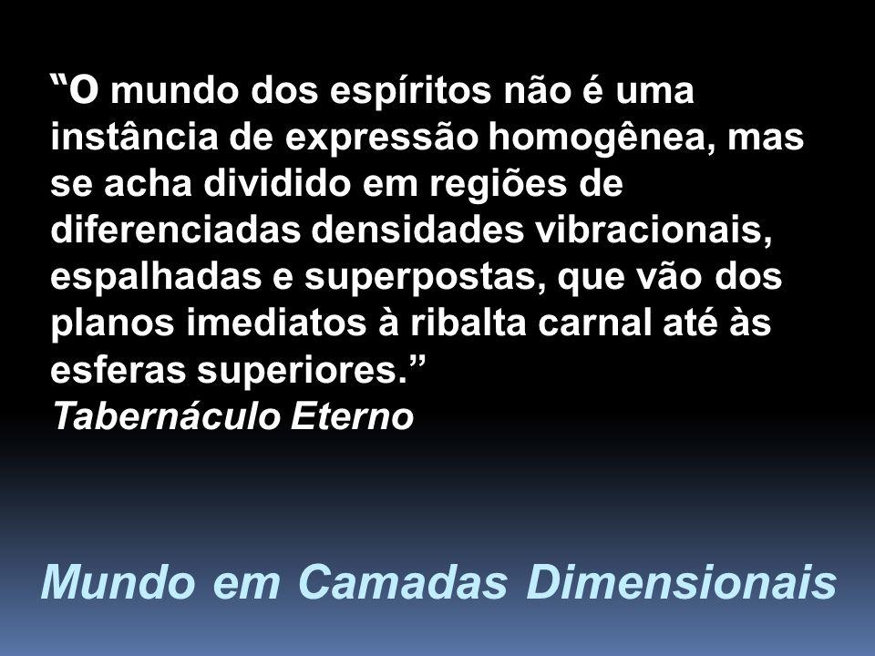 O mundo dos espíritos não é uma instância de expressão homogênea, mas se acha dividido em regiões de diferenciadas densidades vibracionais, espalhadas