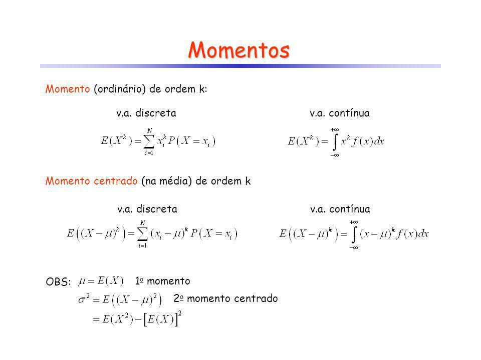 Momentos v.a. discretav.a. contínua Momento (ordinário) de ordem k: Momento centrado (na média) de ordem k v.a. discretav.a. contínua OBS: 1 o momento