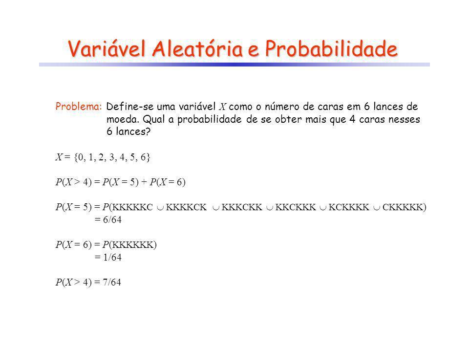 Variável Aleatória e Probabilidade Problema: Define-se uma variável X como o número de caras em 6 lances de moeda. Qual a probabilidade de se obter ma