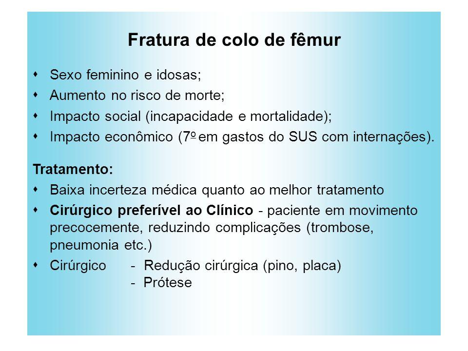 Fratura de colo de fêmur Sexo feminino e idosas; Aumento no risco de morte; Impacto social (incapacidade e mortalidade); Impacto econômico (7 o em gas