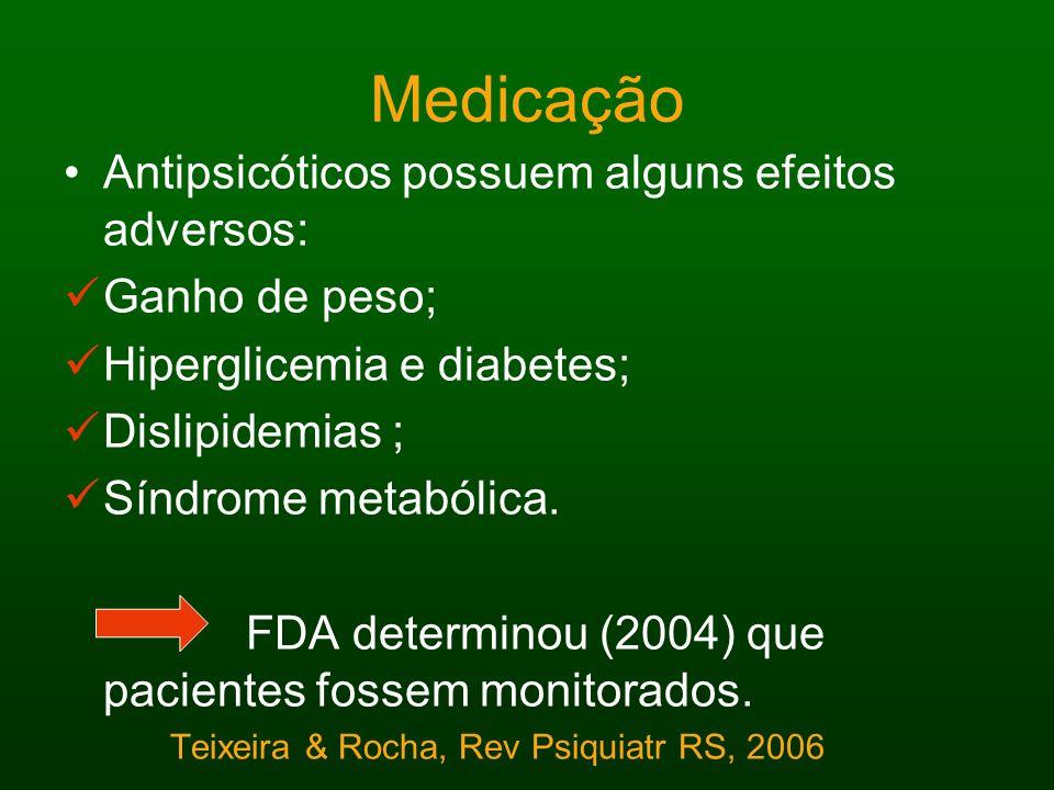 Medicação Antipsicóticos possuem alguns efeitos adversos: Ganho de peso; Hiperglicemia e diabetes; Dislipidemias ; Síndrome metabólica. FDA determinou
