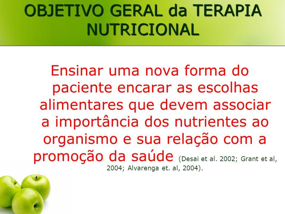OBJETIVO GERAL da TERAPIA NUTRICIONAL Ensinar uma nova forma do paciente encarar as escolhas alimentares que devem associar a importância dos nutrient