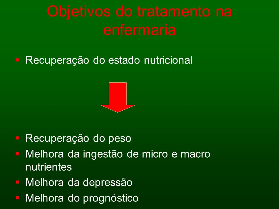 Objetivos do tratamento na enfermaria Recuperação do estado nutricional Recuperação do peso Melhora da ingestão de micro e macro nutrientes Melhora da